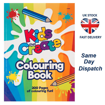 A4 200 PAGE JUMBO CHILDRENS COLOURING BOOK Learning Fun Arts & Craft Therapy Kid
