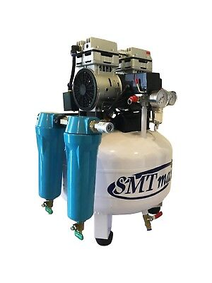 New 1 HP, 8 Gallon, Oil Free Noiseless Dental Air Compressor with 2-Stage Dryer