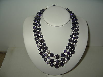 Pretty Vintage 3 Strand Purple Colored Beads Necklace