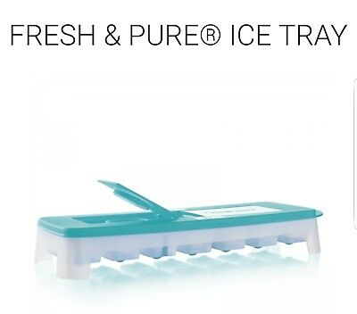 Tupperware Fresh & Pure Ice Cube Tray Flexible Silicone Bottom Tropical Blue NEW
