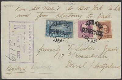 1931-H-84 Spain Antilles 1931 Air Mail Registered Cover To Switzerland.