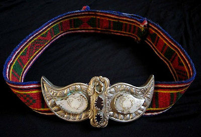 MAGNIFICENT ANTIQUE BALKANS HAND WOVEN WOOLEN ART BELT w/ THE BUCKLES!!!