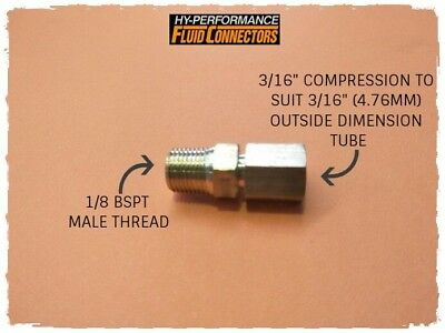 3/16 Compression X 1/8 Bspt Male Brass Fitting Adapter