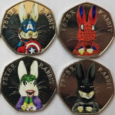 2016 50p PETER RABBIT SUPERMAN UNCIRCULATED COIN + DECAL SPIDER, CAPTAIN AMERICA