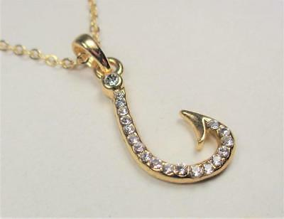 Beach Fashion Rhodium Nautical Gold Fish Hook With Crystals Pendant Necklace
