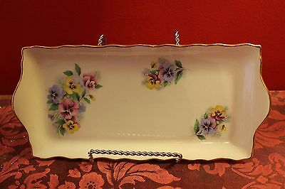 Old Foley James Kent Ltd. Staffordshire Serving Tray Made In England Pansies