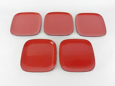 Japanese antique vintage Wajima red black lacquer wood square plate set chacha