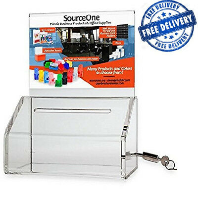 SourceOne Donation Box Lock 5-Inch Wide Acrylic Clear Sign Deluxe Oblong Charity