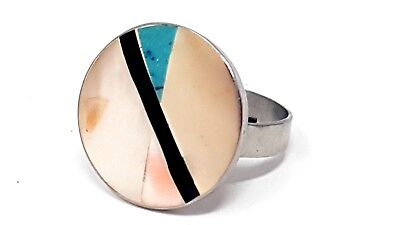Vintage Mother of Perl Turquoise Adj silver tone ring size 9