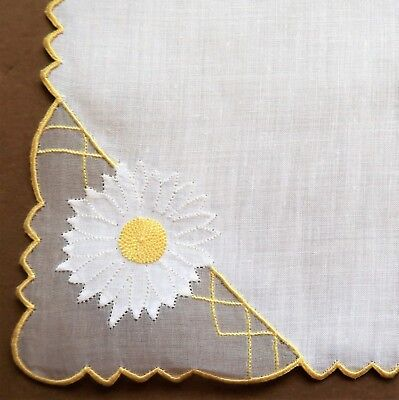Vintage Hand Embroidered White Cotton Women's Handkerchief- Daisy Design