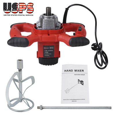 Electric Mortar Mixer 1500W Dual High Low Gear 6 Speed Paint Cement Grout US