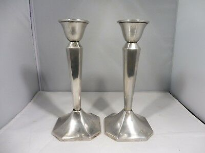 Pair Of Italian Florentine Vintage Plain 900 Silver Candlesticks Weighted