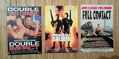 3 carte postale JC Van Damme Double Impact Universal soldier Full Contact