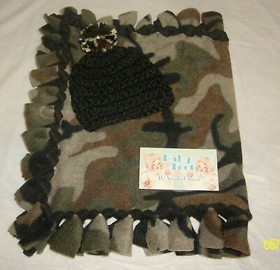 "Boys Baby Feet 26x22/""US Army Handmade 2-Sided Lark Knot Tye Fleece Blanket Set"
