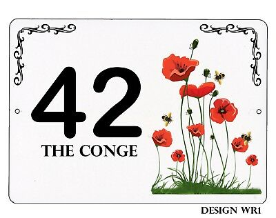 PERSONALISED  House,door name//number//road FLOWERS Design 7x5 inch Plaque//sign