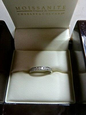 Moissanite 9Ct White Gold Eternity Band Ring Charles And Colvard