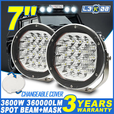 2x 7INCH 3600W CREE LED Work Light Driving Headlight Spot Offroad SUV Round HID