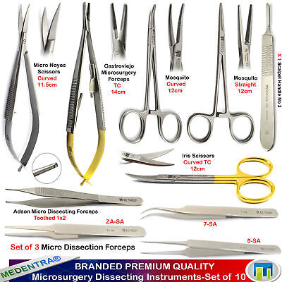 Professional Small Animals Microsurgical Dissection Instruments Kit - 10PCS Lab