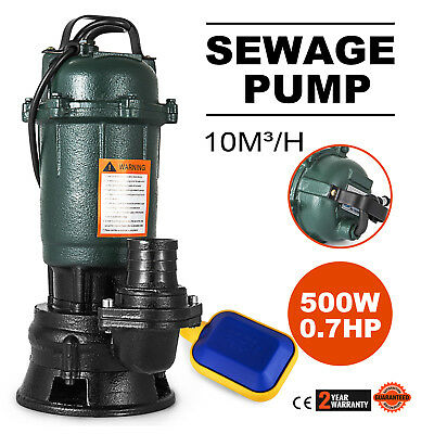 500W Submersible Sewage Dirty Waste Water Pump Max 39ft Sewage Pump 2 Inch
