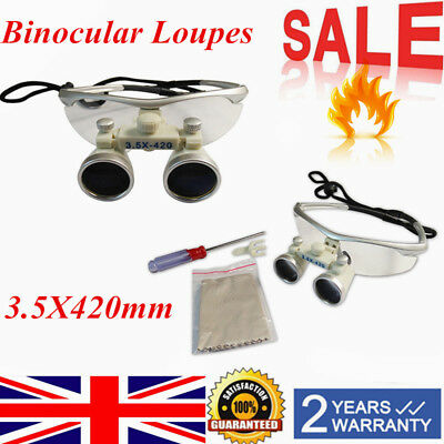 3.5X 420mm Dental Surgical Medical Binocular Loupes Magnifying Glass Lens UK