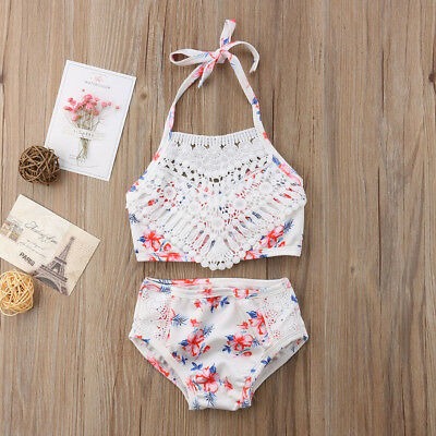2Pcs Toddler Baby Girl Lace Swimwear Bathing Suit Bikini Outfits Swimsuit Set US