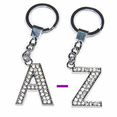 Diamante Bling Clear Crystal Alphabet Letter Key Ring Key Chain Gift Idea