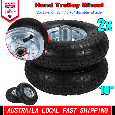"2 x 10"" Hand Trolley Wheel puncture proof 3.50-4 Solid Heavy Duty No Air 20mm"