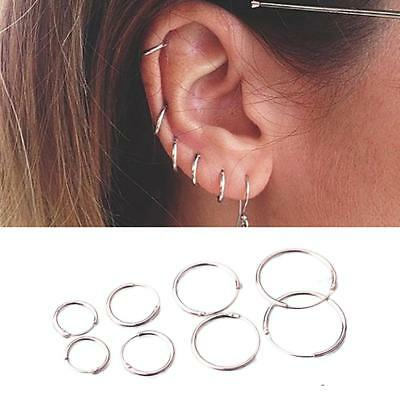 925 Sterling Silver Circle Round Ear Hoop Earrings Allergy Jewelry OF