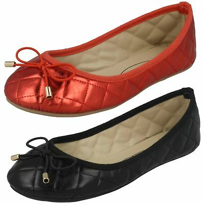 Girls Spot On Flat Quilted Ballerinas