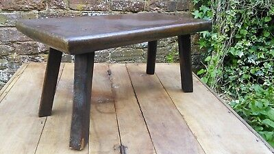 Antique Victorian Large Heavy Oak Wooden Stool Footstool