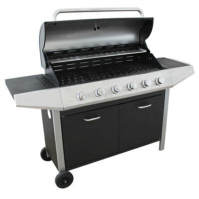 Flame Master Bbq.Flamemaster Ultimate Chef 6 Burner Gas Bbq Cast Iron Extra