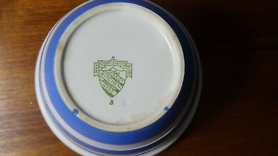 Cornishware Pudding Bowl - T G Green - Green shield - blue and white bands