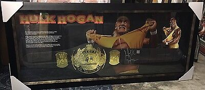 Hulk Hogan Signed And Framed Replica Championship Belt + Photo Proof