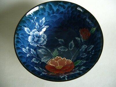 Small Blue Oriental Bowl Red Flower Decoration