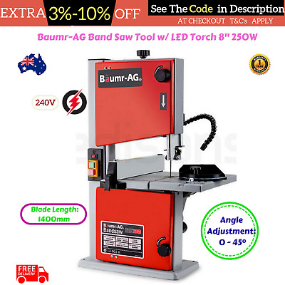 """Baumr-AG 250W 8"""" Bandsaw Commercial Cutting Wood Plastic Timber Table LED Torch"""