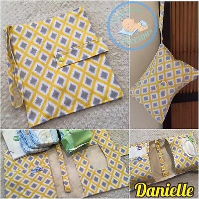Yellow Grey Nappy Wallet. Geometric Diamond Diaper Clutch.