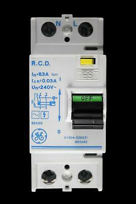 GENERAL ELECTRIC 63 AMP 30mA DOUBLE POLE RCD V/304-026031 660492