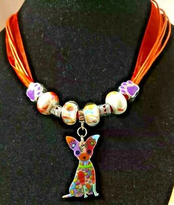 """Chihuahua Dog 17"""" Orange Cords Ribbon Necklace Beads Handcrafted Jewelry"""
