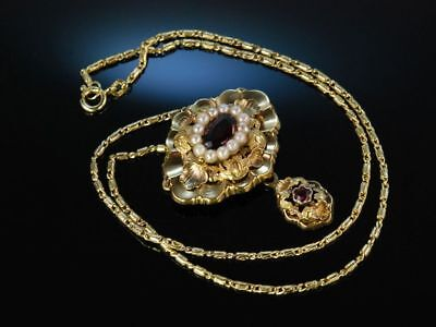 München Um 1850! Antikes Biedermeier Collier Necklace Gold Granate Saatperlen