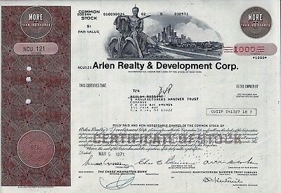 Arlen Realty & Development Corp., New York, 1971  (1.000 Shares) braun