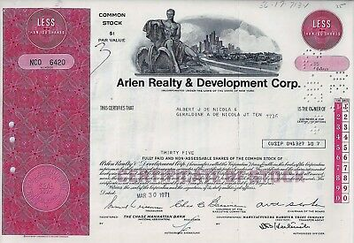Arlen Realty & Development Corp., New York, 1971  (35 Shares) weinrot