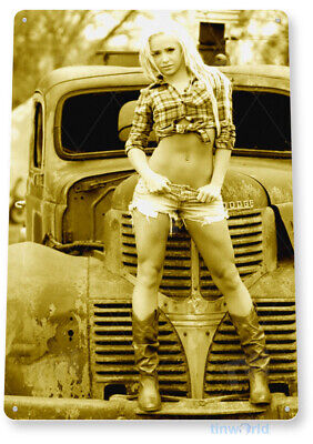 TIN SIGN Front Grill Pin-Up Girl Hot Rod Cowgirl Metal Décor B999