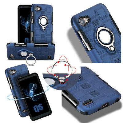 For LG V30 Q6 Q8 Heavy Duty Shockproof Kickstand Ring Armor Rugged Hybrid Cover