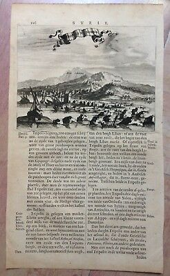 LIBAN TRIPOLI by DAPPER 1668 XVIIe CENTURY ANTIQUE COPPER ENGRAVED VIEW