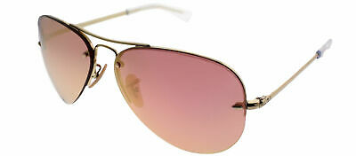 ddbc3829d5 Ray-Ban RB 3449 001 E4 Gold Metal Aviator Sunglasses Copper Lens