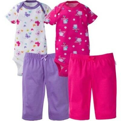 Onesies Brand Newborn Baby Girl Layette Outfit Set, 4-Piece