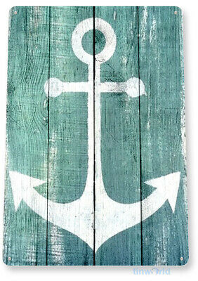 TIN SIGN Anchor Beach House Cottage Rustic Metal Décor B946