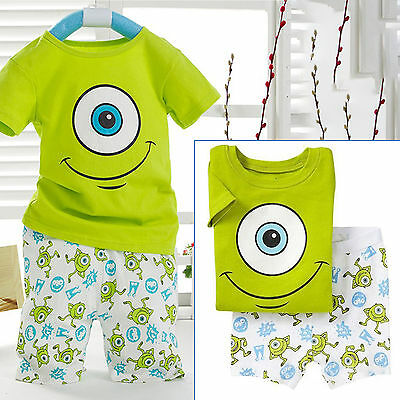 Kids Boys Clothes Mike Wazowski Tee Shirt Top + Pant Shorts Summer Outfits Set