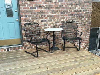 (3) Vintage Woodard Style Wrought Iron Patio Sling Chairs w/ Table & Marble Top