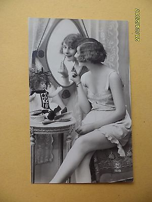 Orig French 1910's-1920's Semi-Nude Postcard Sexy Lady Mirror Art Deco #A2